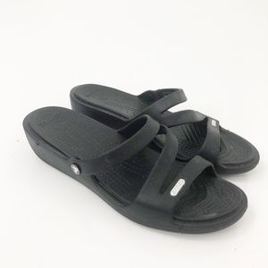 Croc Black Wedge Sandals Rubber Comfort Shoes